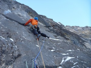 Nick doing some interesting things to leave the belay on pitch 4