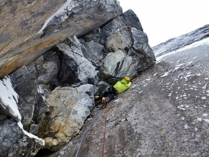 Me getting stuck into some cool moves on the crux pitch.