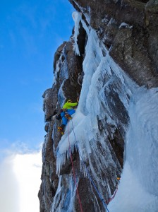 Me reaching the pod below the icy wave, Photo. Guy Robertson