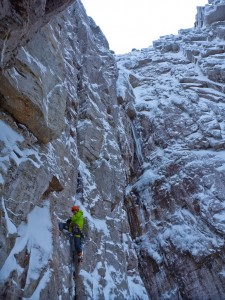 "Jon starting up the headwall on ""MtC"""