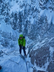 Jon rapping into West Central Gully Photo. Nick Bullock