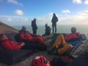 The team, chilling while we wait to be called to climb