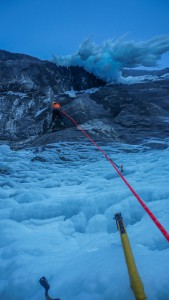 Nick moving up the second mixed pitch. Take note at how much ice is hanging up and right of him.
