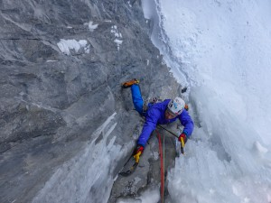 Me reaching the belay on pitch one of NOWS. Credit. Nick Bullock