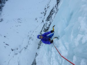 Me seconding up a very wet pitch four. Credit. Nick Bullock