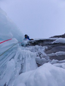 Me starting the very long and sustained top pitch of NOWS. You definitely get your ice grade for this pitch in virgin conditions! Credit. Nick Bullock