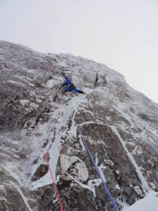 Me making my way up Hoargasm on the first ascent