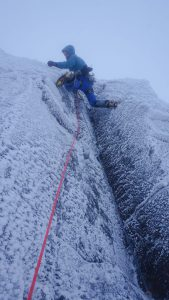 "Me on the crux pitch of ""Open Heart"""