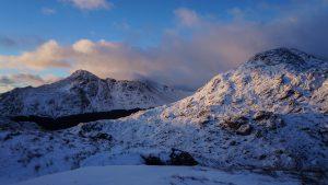 The morning light hitting the Arrochar Alps